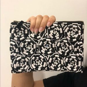 Black & White shell bead and mirror pouch/clutch